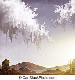 fantasía, cielo, -, arte digital, pintura