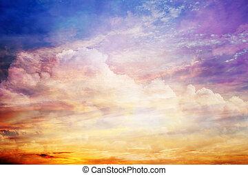 fantasía, cielo de puesta de sol, con, asombroso, nubes, y, sol, light.