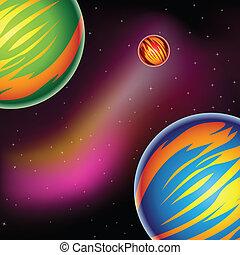 fantasía, colorido, planetas