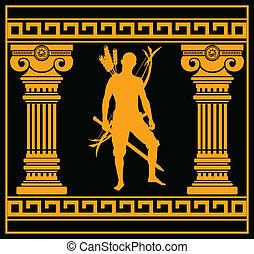 fantasía, columnas, guerrero