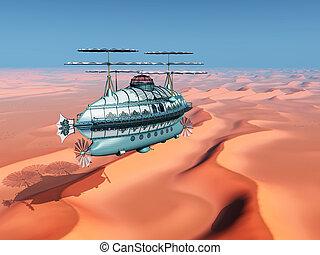 fantasía, dirigible, encima, un, paisaje del desierto