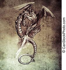 fantasía, dragon., bosquejo, de, tatuaje, arte, medieval,...