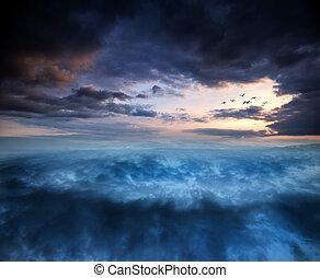 fantasía, encima, skyscape, surreal, vórtice, ocaso, formación