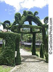 fantasía, entrada, jardín