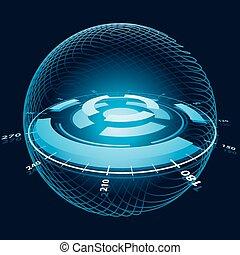 fantasía, espacio, navegación, sphere., vector, ilustración