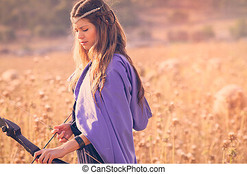 fantasía, ficción, mujer, con el arco y la flecha