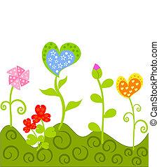 fantasía, flores