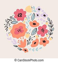fantasía, flores, tarjeta