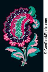 fantasía, flowers., bordado