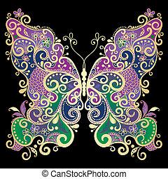 fantasía, gold-colorful, mariposa
