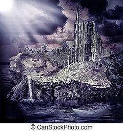 fantasía, hada, aldea, castillo, tale.