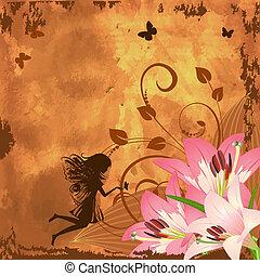 fantasía, hada, flor
