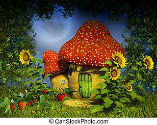 fantasía, hongo, casa