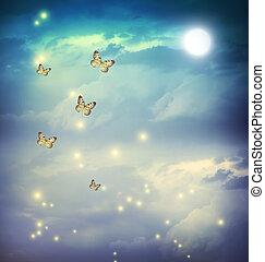 fantasía, mariposas, moonligt, paisaje