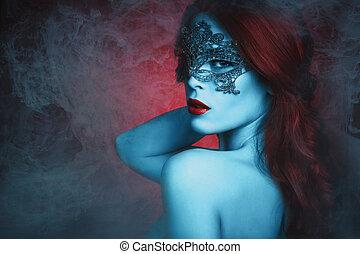 fantasía, mujer, con, máscara