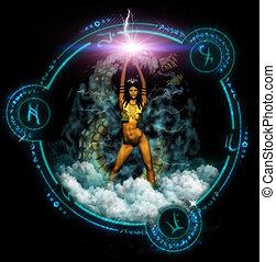 fantasía, mujer, con, místico, símbolos