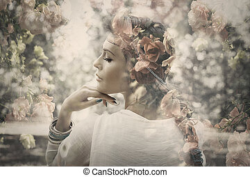 fantasía, mujer, exposición doble