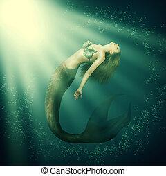 fantasía, mujer hermosa, sirena, con, cola