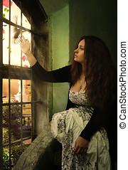 fantasía, mujer se sentar, castillo