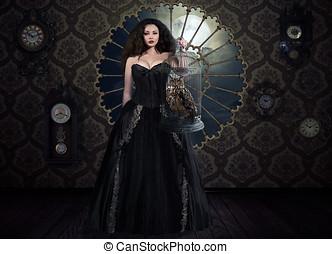 fantasía, mujer victoriano, vestido