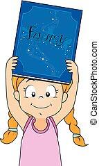 fantasía, niña, libro, ilustración, niño