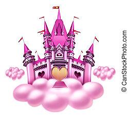 fantasía, nube, castillo