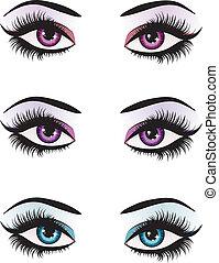 fantasía, ojos, maquillaje