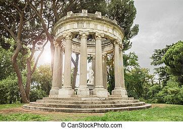 fantasía, paisaje, en, negro y blanco, de, un, romano antiguo, templo, con, efecto de alumbrado, en, el, plano de fondo