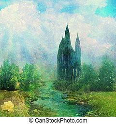 fantasía, pradera, con, un, fairytale, torre