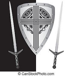 fantasía, protector, espadas
