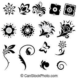 fantasía, resumen, flores, conjunto