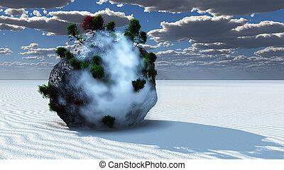 fantasía, roca, isla