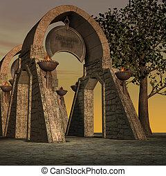 fantasía, templo, en, dawn., 3d, interpretación, de, un, fantasía, tema, para, plano de fondo, usage.