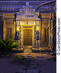 fantasía, templo, puerta