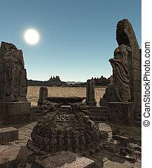 fantasía, templo, ruinas