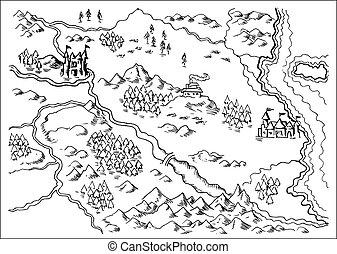 fantasía, tierra, mapa, grunge