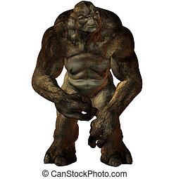 fantasía, troll-3d, figura