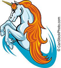 fantasía, unicornio, caballo