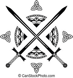 fantasía, variante, quinto, swords.