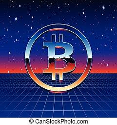 fantascienza, cromo, neon, bitcoin, segno, griglia, futuristico