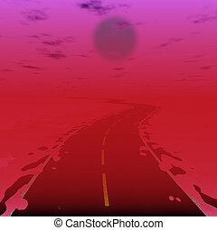 fantascienza, illustrazione, di, strada, in, radiazione, mondo