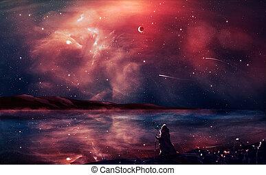 fantascienza, paesaggio, digitale, pittura, con, nebulosa, mago, pianeta, montagna, e, lago, in, rosso, color., elementi, ammobiliato, vicino, nasa., 3d, interpretazione