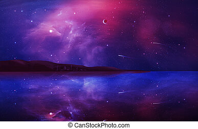 fantascienza, paesaggio, digitale, pittura, con, nebulosa, pianeta, e, lago, in, viola, color., elementi, ammobiliato, vicino, nasa., 3d, interpretazione
