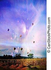 fantasi, het luft ballong