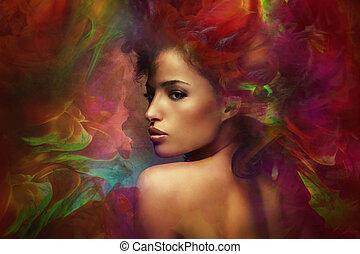 fantasi, kvinna, förnimmelse