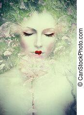fantasi, kvinna, sammansatt