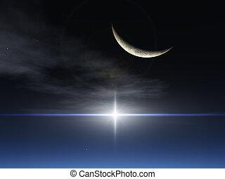fantasi, måne, stjärna