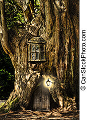 fantasi, saga, miniatyr, hus, in, träd, in, skog