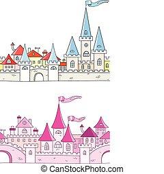fantasi, slott, vektor, seamless, bakgrund