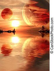 fantasi, solnedgång